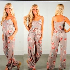 Pants - Light tan floral Jumpsuit